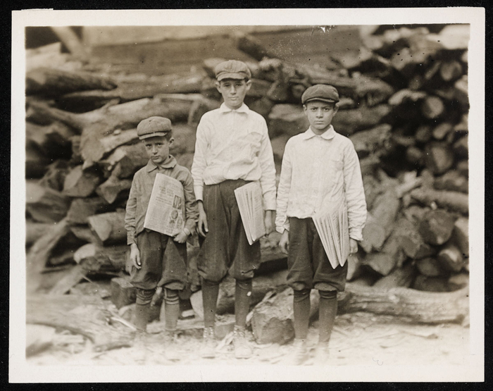 Lewis Wickes Hine, The Davison family, 1312 Tampa Street, William is 14 years old, been selling for 9 years, George 12 years old and Peter 7 years old, Tampa, Florida USA 1913. NMFF.001739