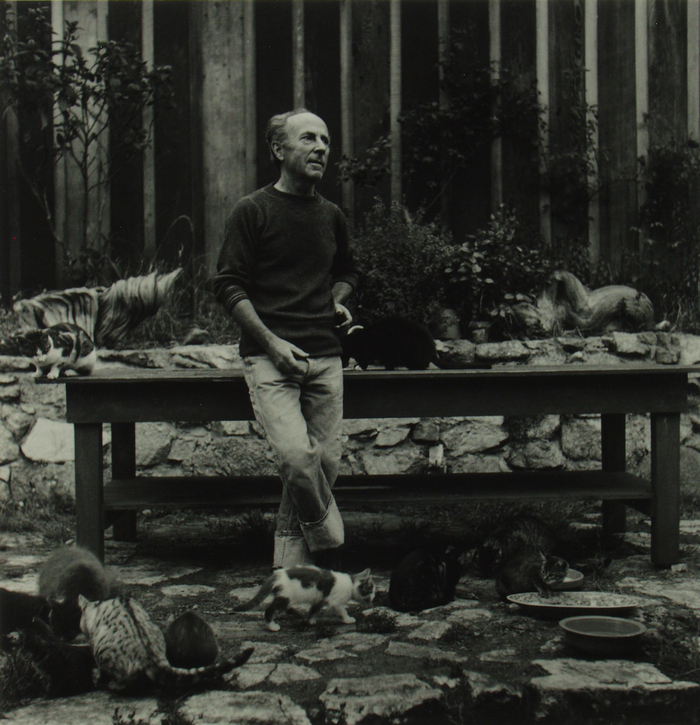 Imogen Cunningham: Edward Weston with cats, 1945, sølvgelatin, NMFF.000408